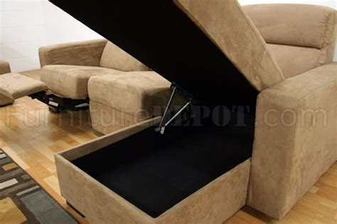 microfiber reclining sectional with storage microfiber modern reclining sectional sofa w storage