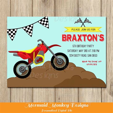 printable birthday cards with motorcycle dirt bike invitation motorcycle invitation dirt bike