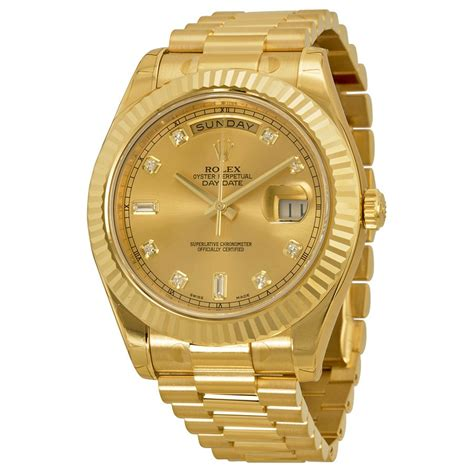 golden rolex rolex day date ii chagne dial 18k yellow gold president