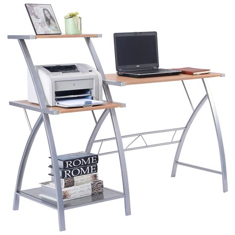 Laptop Shelf For Desk Computer Laptop Writing Study Desk Table Home Office Furniture W 3 Tier Shelf Ebay