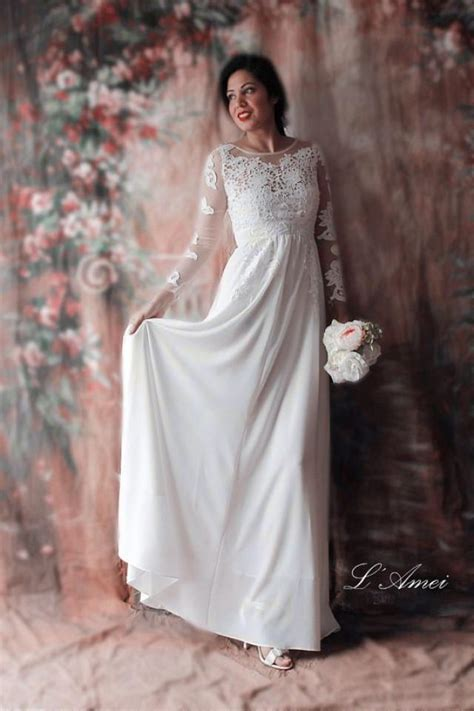 Affordable Wedding Dresses With Sleeves by Affordable Fitted Sleeved Lace Bridal Wedding Dress
