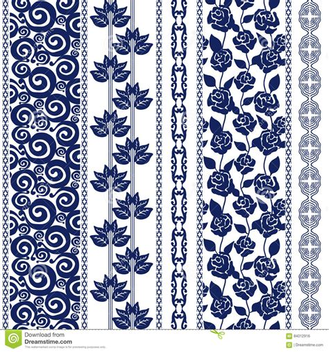modern batik pattern vector set of seamless batik borders with bohemian elements