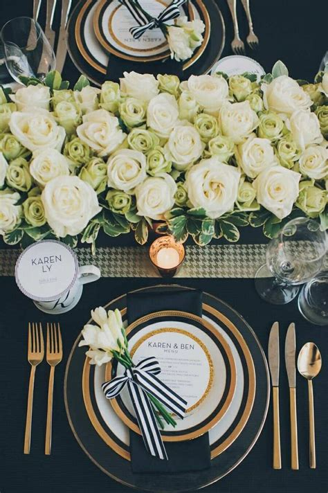 black and white table setting entertaining christmas new years wedding birthday dinner