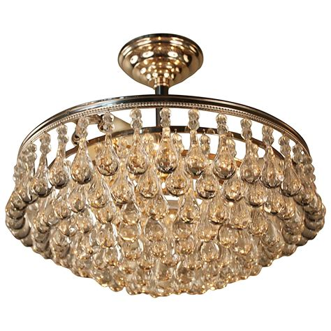 Chandeliers Flush Mount Tear Drop Semi Flush Mount Chandelier At 1stdibs