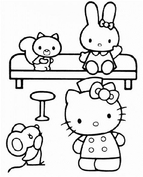 coloring pictures of hello kitty and her friends printable hello kitty and friends coloring pages coloring