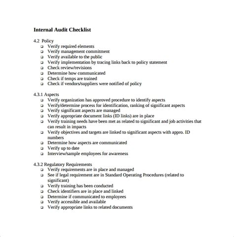 13 Audit Checklist Templates Pdf Word Excel Pages Sle Templates Audit Policy And Procedure Template