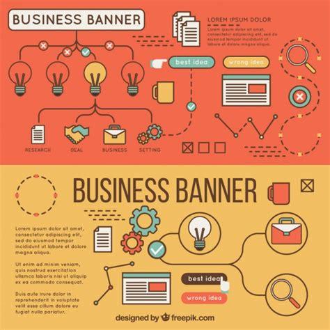 banners flat design elements vector 18 business banners with flat elements vector free download