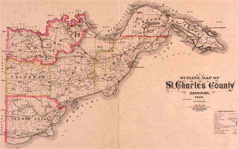 St Charles County Records St Charles County Missouri 1905 Historical Map Reprint Townships