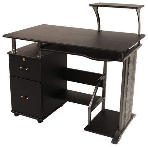 and black computer desk comfort products inc rothmin computer desk black 50