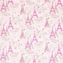 Vanity Tower Set Pink Fabric Paris Eiffel Tower Bistro By Robert Kaufman