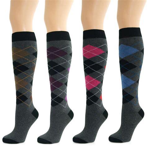 pattern long socks 4 pairs womens ladies girls knee high long argyle diamond
