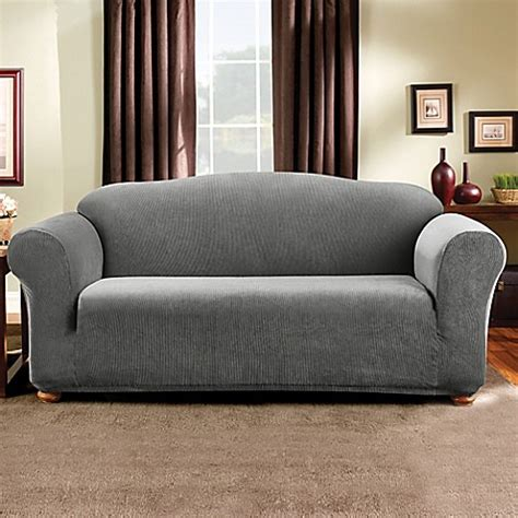 madison sofa slipcover sure fit 174 madison stripe sofa slipcover bed bath beyond