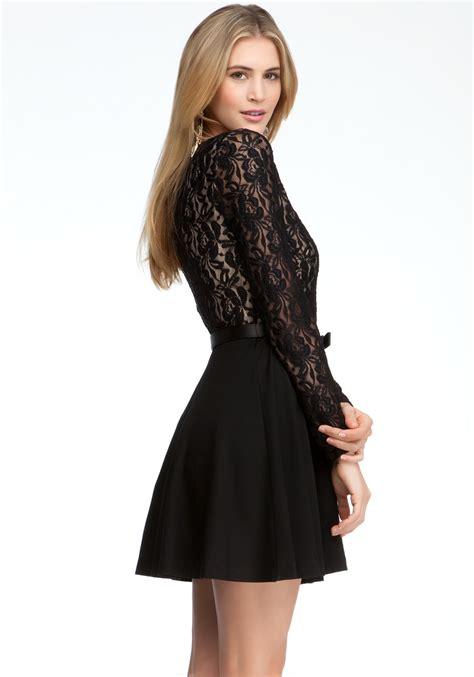 Sleeve Fit Dress lyst bebe sleeve fit flare dress in black