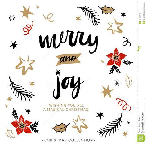 merry  joy christmas greeting card  calligraphy stock vector illustration  card