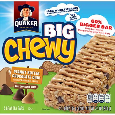 Grains N Co Granola Peanut Butter Choco Chip 2 www quakeroats products oat snacks big chewy granola peanut butter aspx