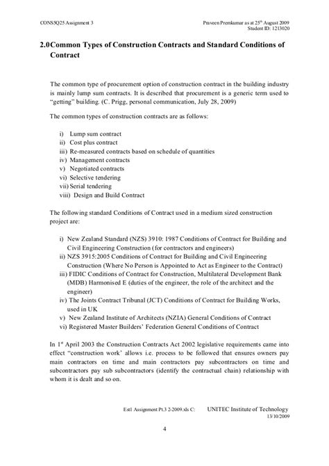 3 0 Common Types Of Construction Contracts Standard Conditions Of C Assignment Of Construction Contract Template