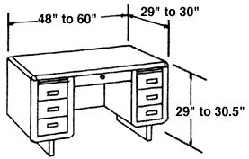 average desk width typical furniture measurements for reference woodworking