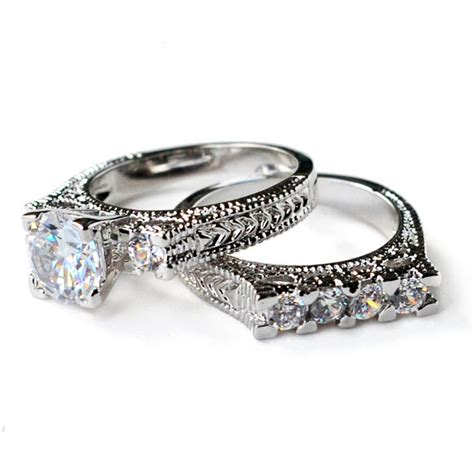 cz deco engagement rings cz ring cz wedding ring cz engagement ring wedding ring