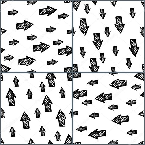 hand drawn seamless arrow pattern stock vector set of four seamless hand drawn sketch patterns doodle