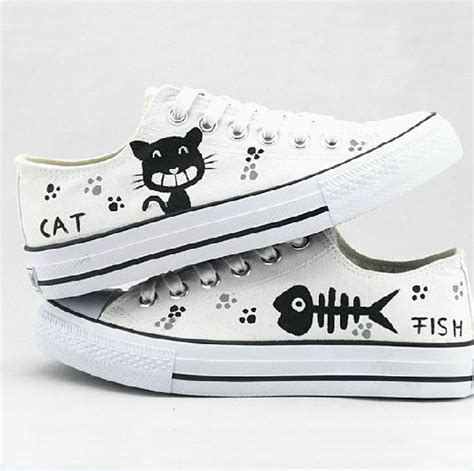 Fish Cat Shoes the autumn low help belted canvas shoes cat and fish painted shoes on luulla