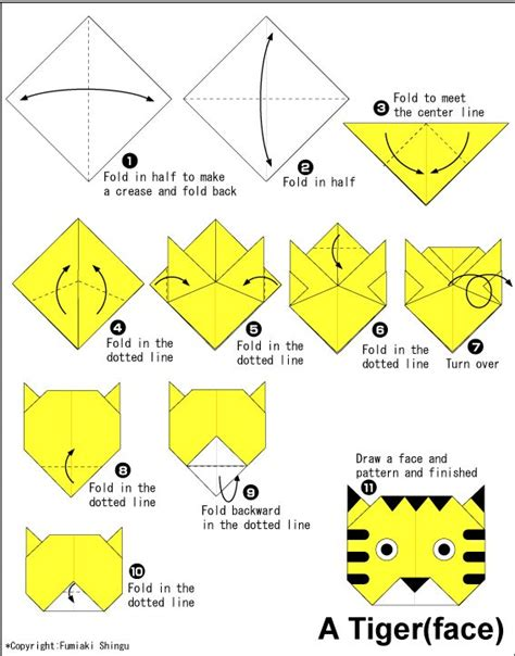 Origami Simple Animals - easy origami for tiger origami for