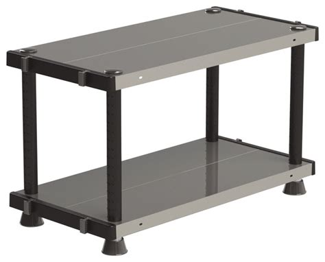 adjustable metal plastic 2 tier shelf black 18 x24