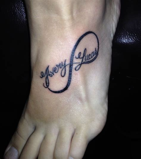 infinity tattoo with name infinity on foot with names tattoos