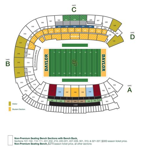 what are seats at a football football seat options foundation baylor