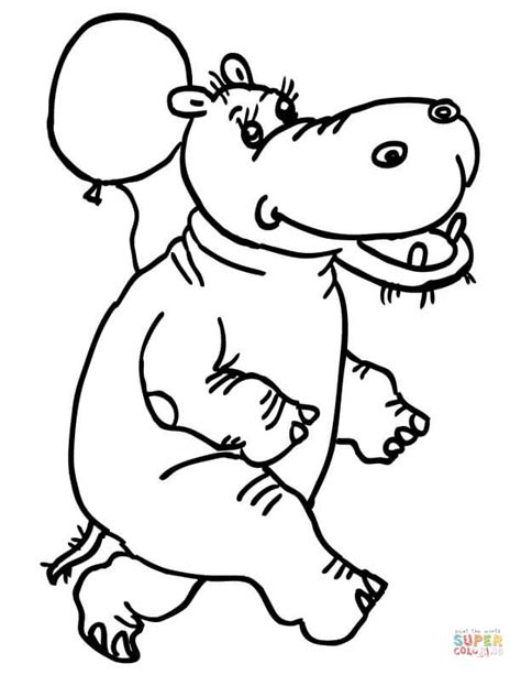 happy hippo coloring page happy hyppo with balloon coloring online super coloring