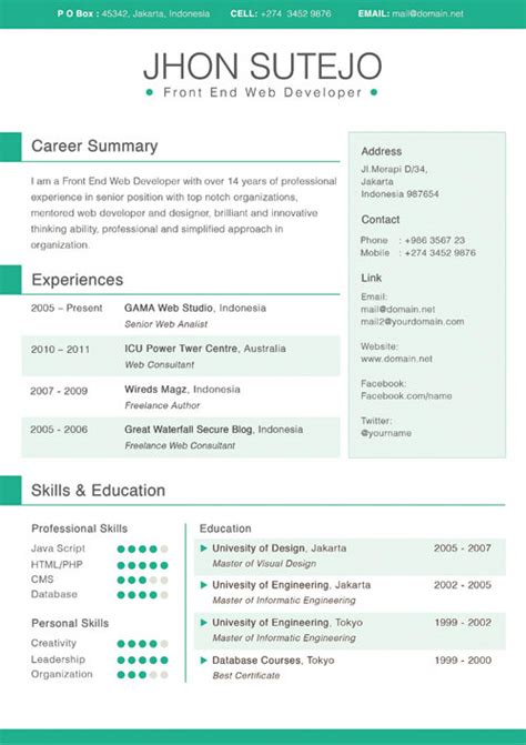 the best cv resume templates 50 examples design shack colorful