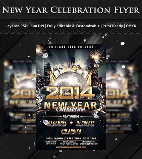 free new years flyer template flyer templates graphicriver new year s 2014 flyer template graphicflux