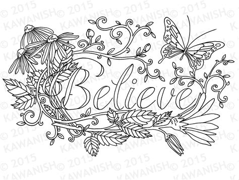 Believe Flower Inspirational Adult Coloring Page Gift Wall Art Inspirational Coloring Pages For Adults