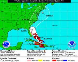 The 2pm est updated noaa hurricane matthew path storm track