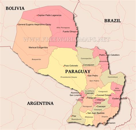 paraguay world map paraguay political map