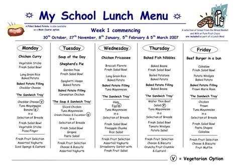 free school lunch menu templates school lunch menu template business
