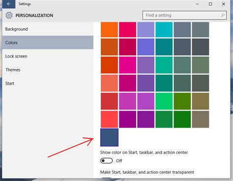 theme windows 10 color add a custom color for taskbar to windows 10 settings app