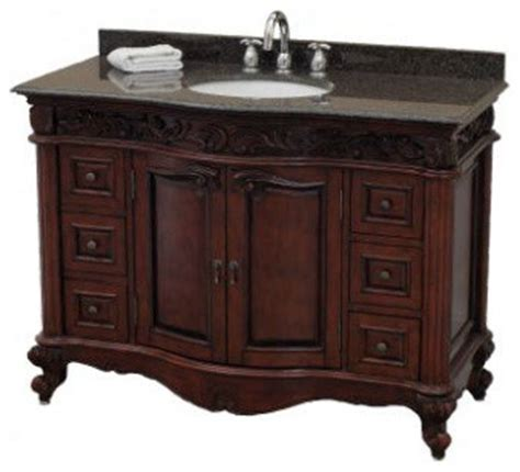 pegasus estates vanity in rich mahogany with granite