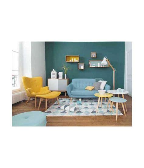 Petit fauteuil en tissu jaune vintage Maison du Monde