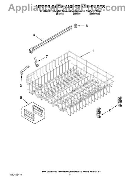 Track Rack Parts by Parts For Kitchenaid Kudc10fxss3 Rack And Track