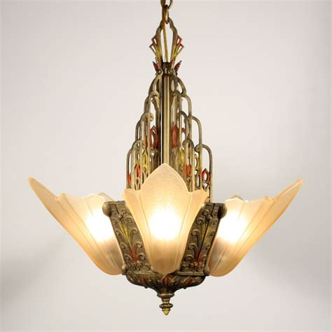 Slip Shade Chandelier Antique Deco Slip Shade Chandelier With Polychrome Finish Nc1133 Rw For Sale