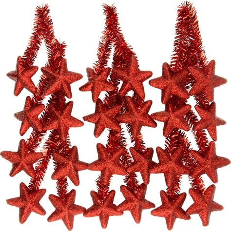 6 quot red tinsel ties w stars red set of 12 xx761624