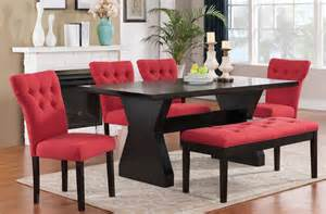 Red Dining Room Sets Effie Dining Room Set W Red Chairs