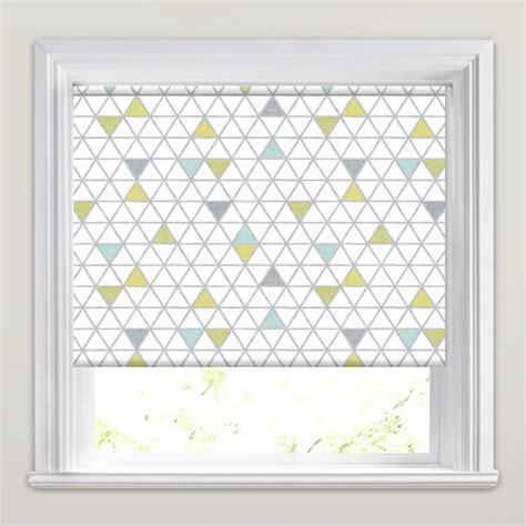 yellow patterned blinds lime green grey whitetriangles patterned roller blinds