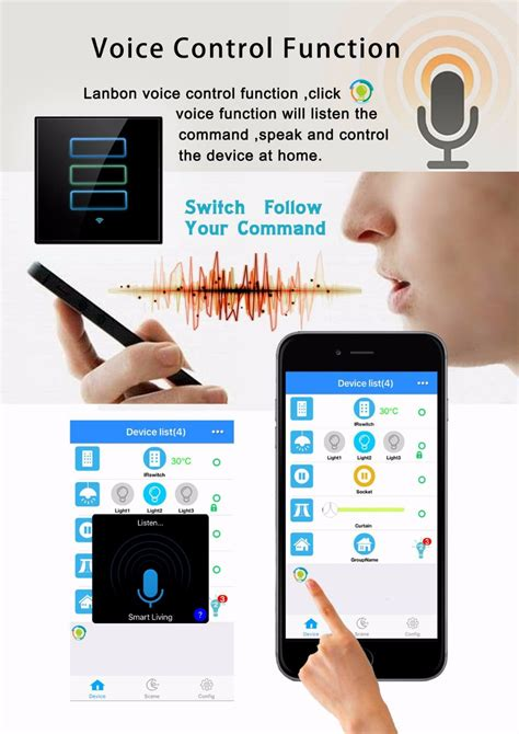 app controlled light switch voice au us standard two wifi smart touch
