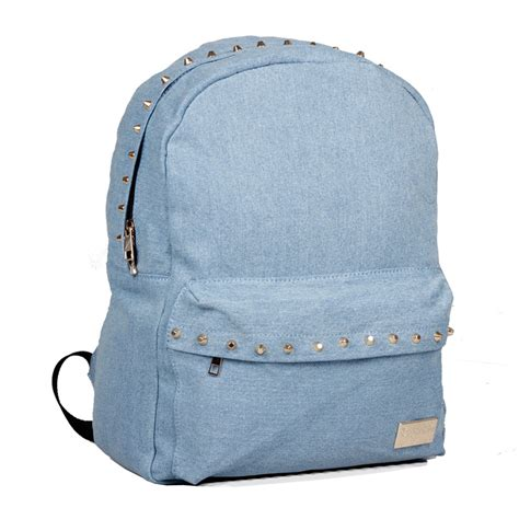 Denim Backpack fashion light blue rivet denim backpack oversized school bag on luulla
