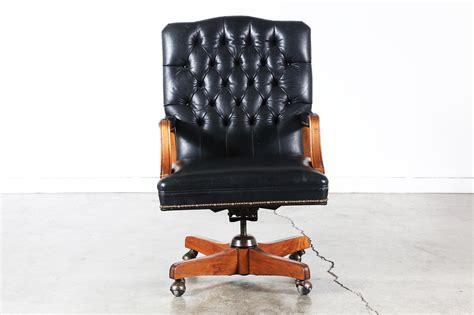 vintage tufted leather office chair vintage style black leather tufted office chair