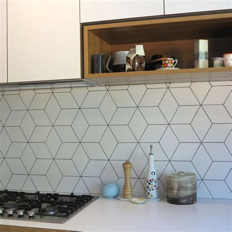 kitchen splashback tiles beautiful geometric tiled splashback white kitchen