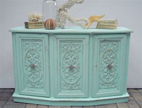 cottage shabby chic credenza buffet cabinet aqua blue