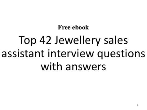 jewellery sales assistant questions and answers