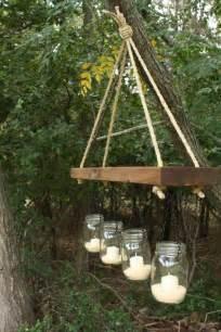 Candle Chandelier Outdoor Indoor Outdoor Jar And Wood Chandelier Candle Holder
